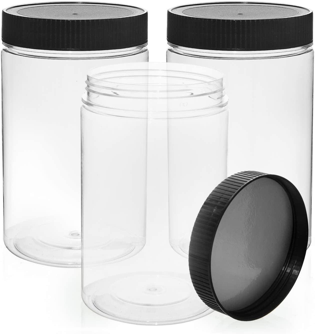 Vumdua 27 Ounce Plastic Jars with Lids, 3 Pack Food Storage Containers Airtight, Clear Containers for Organizing