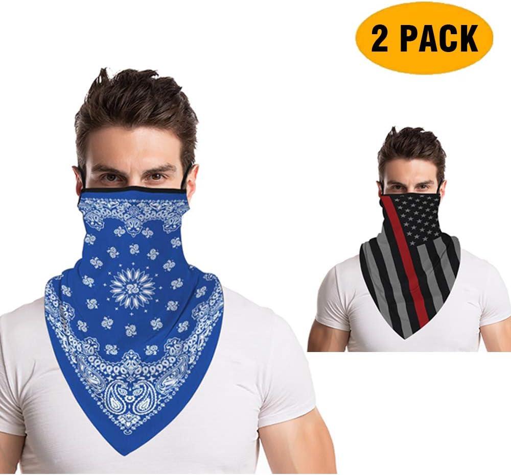 Face Bandana Ear Loops,2020 Fashion Print Neck Gaiter Face Scarf for Men Women Anti Dust Wind Motorcycle Balaclava by Pgojuni