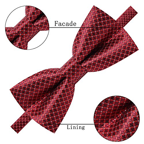 AUSKY 4 Pack Elegant Adjustable Pre-Tied Bow Tie Pocket Square Handkerchief set for Men Boys (4 PACKS A) by Ausky (Image #2)