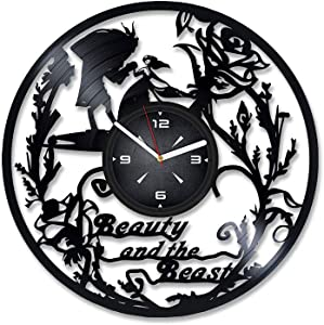 The Beauty and The Beast Vinyl Record Wall Clock. Decor for Bedroom, Living Room, Kids Room. Gift for Boys or Girls. Christmas, Birthday, Holiday, Housewarming Present.