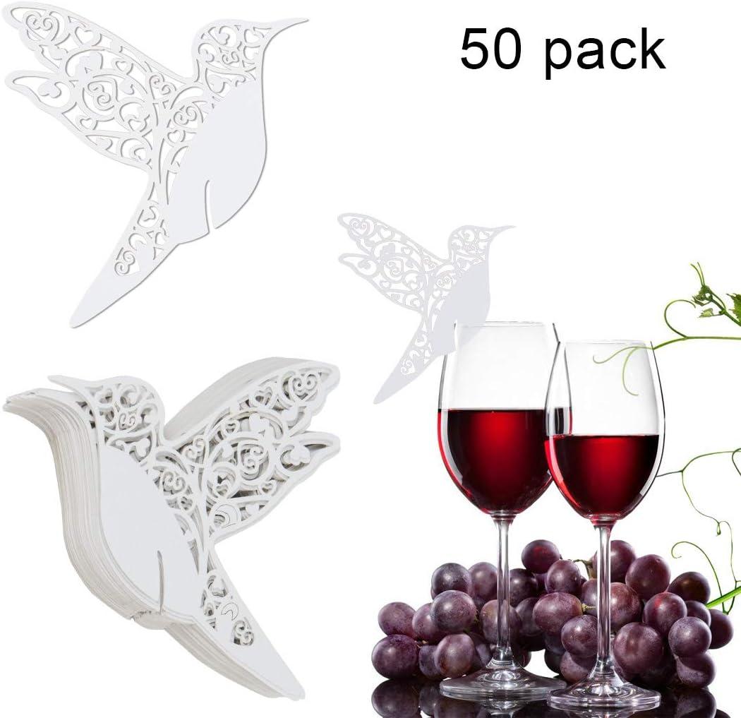Blanco pájaros del amor nombre lugar tarjeta para boda champán/copas de vino, fiesta favor decoración para números de mesa, Tarjeta de Copa pájaros del amor, Tarjetas para comensales