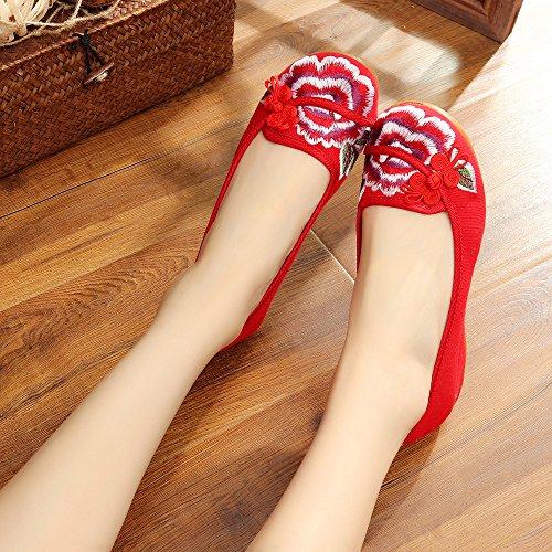 moda tendón red del casual zapatos de aumento Zapatos del Chnuo lenguado tela estilo cómodo femenina dentro étnico bordados wnAqTxgP