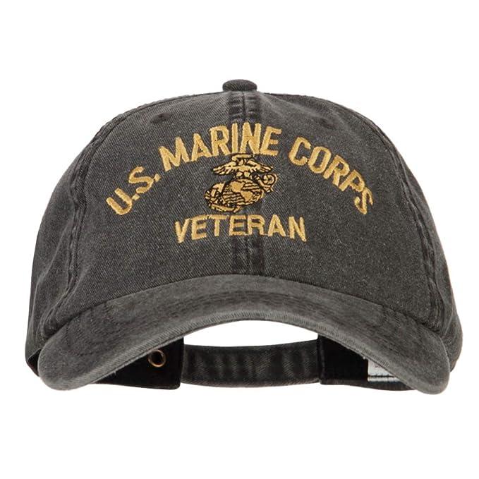 2e4856ce752e2e e4Hats.com U.S. Marine Corps Veteran Embroidered Big Size Washed Cap -  Black OSFM