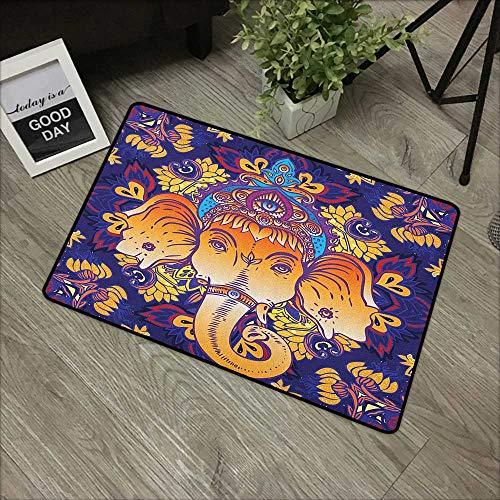 Buck Haggai Front Door Mat Mandala,Colorful Floral Arrangement Ornate Illustration of Blossoming Petals and Leaves, Multicolor,Indoor Outdoor, Waterproof, Easy Clean, Low-Profile Mats,30