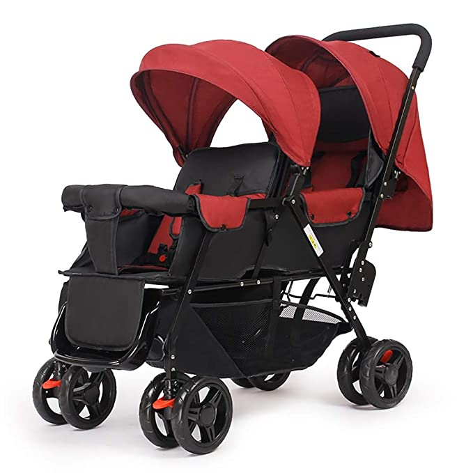 Guo@ Carro infantil doble, cochecito de bebé gemelo Peso ligero plegable Carro de bebé doble de dos plazas (Color : Red): Amazon.es: Bebé