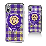 Keyscaper Orlando City Soccer Club Plaid iPhone X Gold Glitter Case MLS