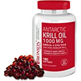 Bronson Antarctic Krill Oil 1000 mg with Astaxanthin, 180 Softgels (90 Servings)