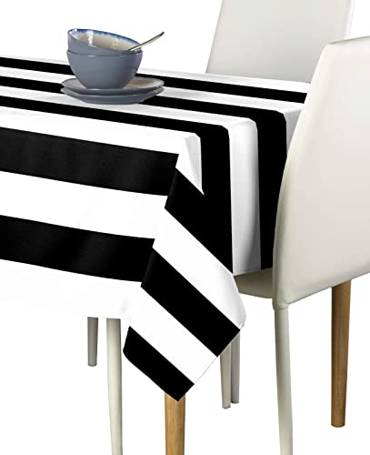 Black White Cabana Stripe Milliken Signature Tablecloth