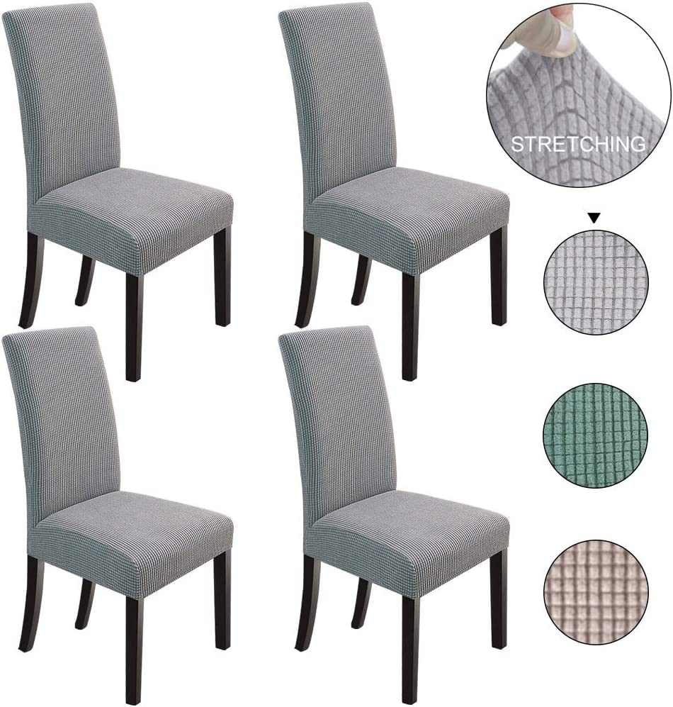 NORTHERN BROTHERS Dining Chair Covers Set of 4 Stretch Chair Covers Parsons Chair Slipcover Chair Covers for Dining Room,Light Grey