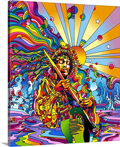 Jimi Hendrix Canvas - Howie Green Premium Thick-Wrap Canvas Wall Art Print entitled Jimi Colo 20