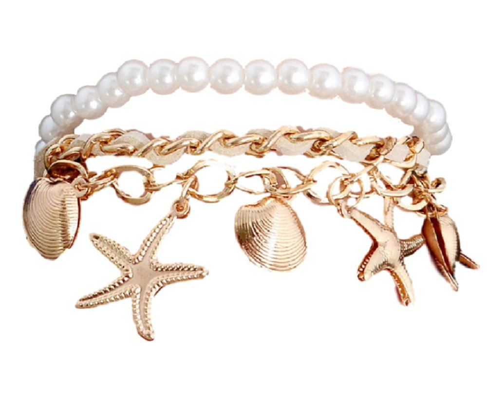 Zipped Girls Summer Style Fashion Gold imitation Pearl Mermaid Bracelet White Color Handmade