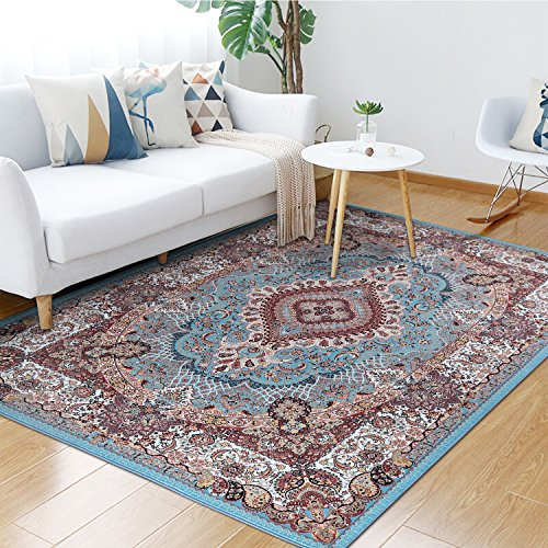 Junovo Traditional Collection Area Rug for Living Room Bedroom Dining Room,5' x 8',Deep Red