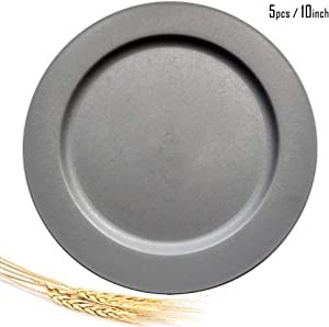 Greenandlife 10inch/5pcs Dishwasher & Microwave Safe Wheat Straw Plates - Lightweight & Unbreakable,Non-toxin, BPA free and Healthy for Kids Children Toddler & Adult (Gray)