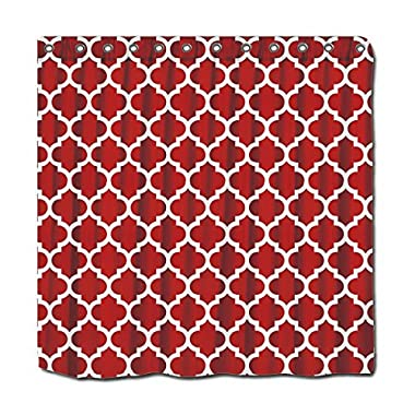 YYT Personalized Shower Curtains Cranberry Red White Moroccan Quatrefoil Pattern #5 Shower Curtain 72 X72