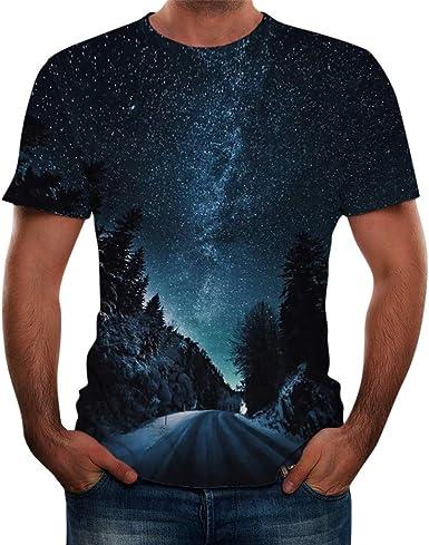 Verano Nuevo. Camiseta para Hombre con Estampado de Estrellas y Cielo, impresión 3D, poliéster, Talla Grande S-3XL: Amazon.es: Ropa y accesorios
