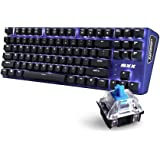 Rantopad MXX Mechanical Gaming Keyboard - 87 Keys,White Backlit, Blue Switches, Blue Aluminum Cover, N-Key Rollover