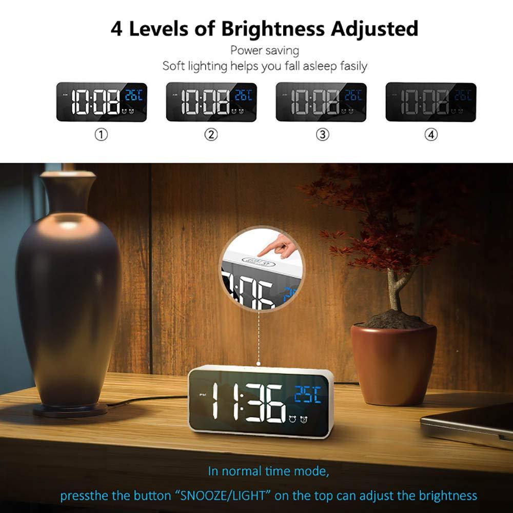 TopHGC Sveglia Digitale Sveglia a Specchio a LED Non ticchettabile con Display della Temperatura 4 Livelli di luminosit/à Funzione Snooze per Comodino Camera da Letto Argento