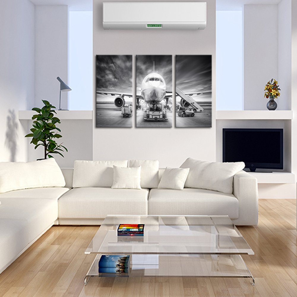 Live Art Decor Large 3 Piece Canvas Wall Art Airplane Pictures Framed Black and White Aircraft Art for Office Home Decoration Plane Artwork Ready to Hang L771