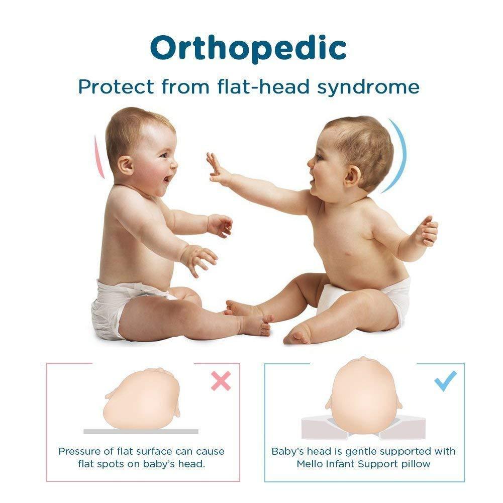 Oreiller pour b/éb/é Mello coussin orthop/édique pour les nourrissons Blue