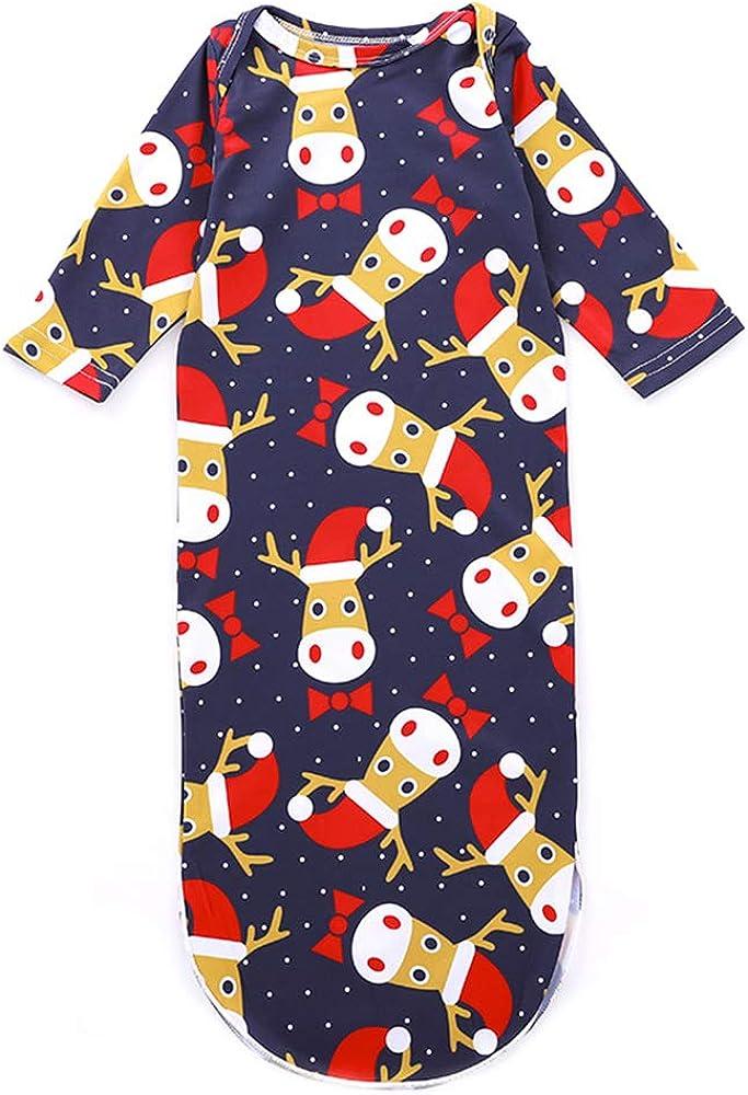 GZQ Pijamas Enteros para Bebe, Ropa de Dormir para Navidad, Traje de Ropa del Manga Larga para el hogar,Pijamas Elk para Bebe Recién
