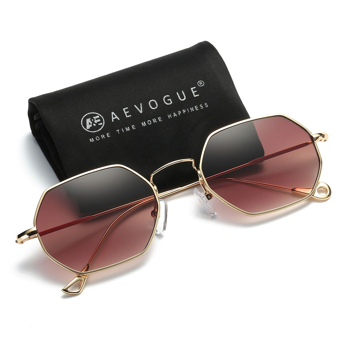 AEVOGUE Unisex Sunglasses Small Metal Frame Asymmetry Temple AE0520 (Gold&Brown, 56) by AEVOGUE