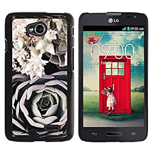 iKiki Tech / Estuche rígido - Art Black White Rose Composition - LG Optimus L70 / LS620 / D325 / MS323