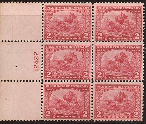 Pilgrim Plate (US Stamp - 1920 2c Pilgrim Tercentenary - Plate Block of 6 Stamps #549)