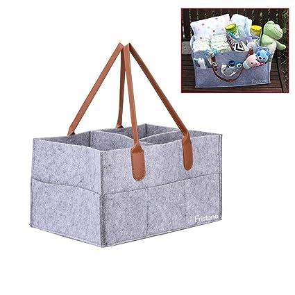 FRISTONE Cajas para pañales Nursery almacenamiento bin cesta de fieltro bolsa de organizador Basura pañales toallitas