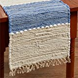 "54"" Table Runner in Denim Light Blue & Beige Chindi Nubby Cotton"
