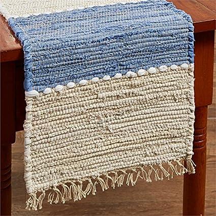 Exceptionnel 54u0026quot; Table Runner In Denim Light Blue U0026 Beige Chindi Nubby Cotton