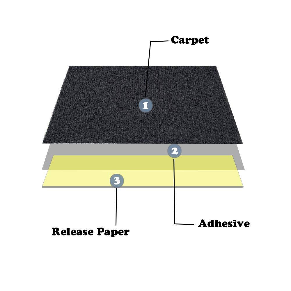 Self Adhesive Carpet Tile Easy to Peel and Stick Carpet Floor Tile 12 Tiles//12 sq Ft.