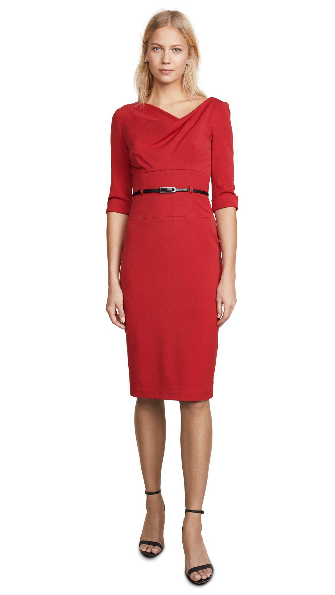 Black Halo Women's 3/4 Sleeve Jackie O Dress, Red, 6