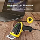 TaoTronics USB Barcode Scanner Wired Handheld Laser Bar Code Scanner Automatic Sensing and Scan ( Black and Yellow)