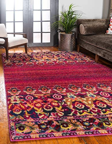 Unique Loom Medici Collection Vibrant Colors Abstract Botanical Red Area Rug 2 2 x 3 0