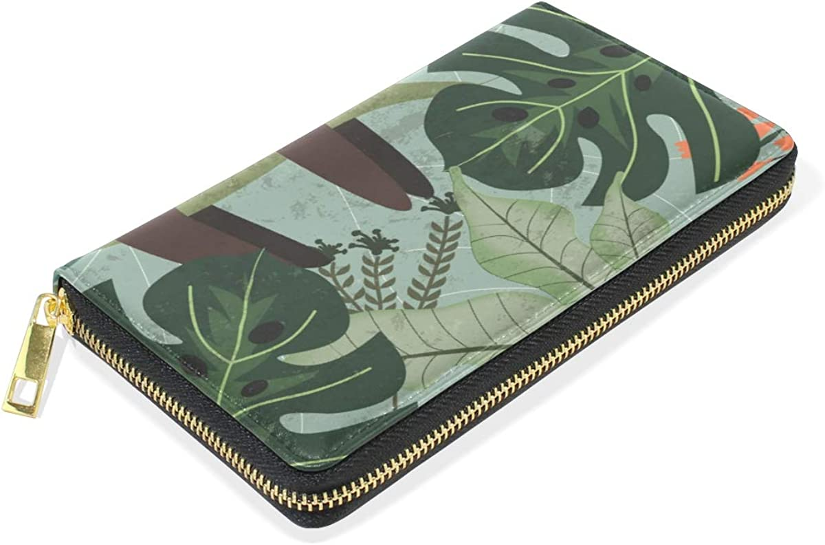 Sloth Sleep Tropical Jungle Wallet for Women Leather Zipper Phone Coin Purse