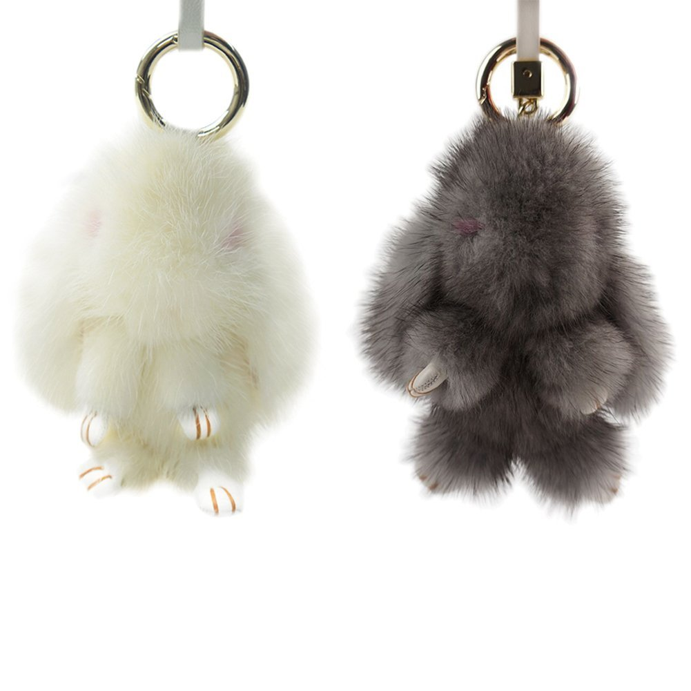 Magelier Real Fur Rabbit Fashion Handbag Decoration Cellphone Car Pendant Ornemant Toy Animal Doll,White Grey