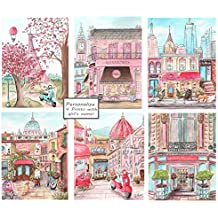 """Set Of 6 Travel Themed Nursery Canvases, Personalize London, NYC, Paris & Rome, 5 Sizes - 8x10"""" to 24 x 36"""""""
