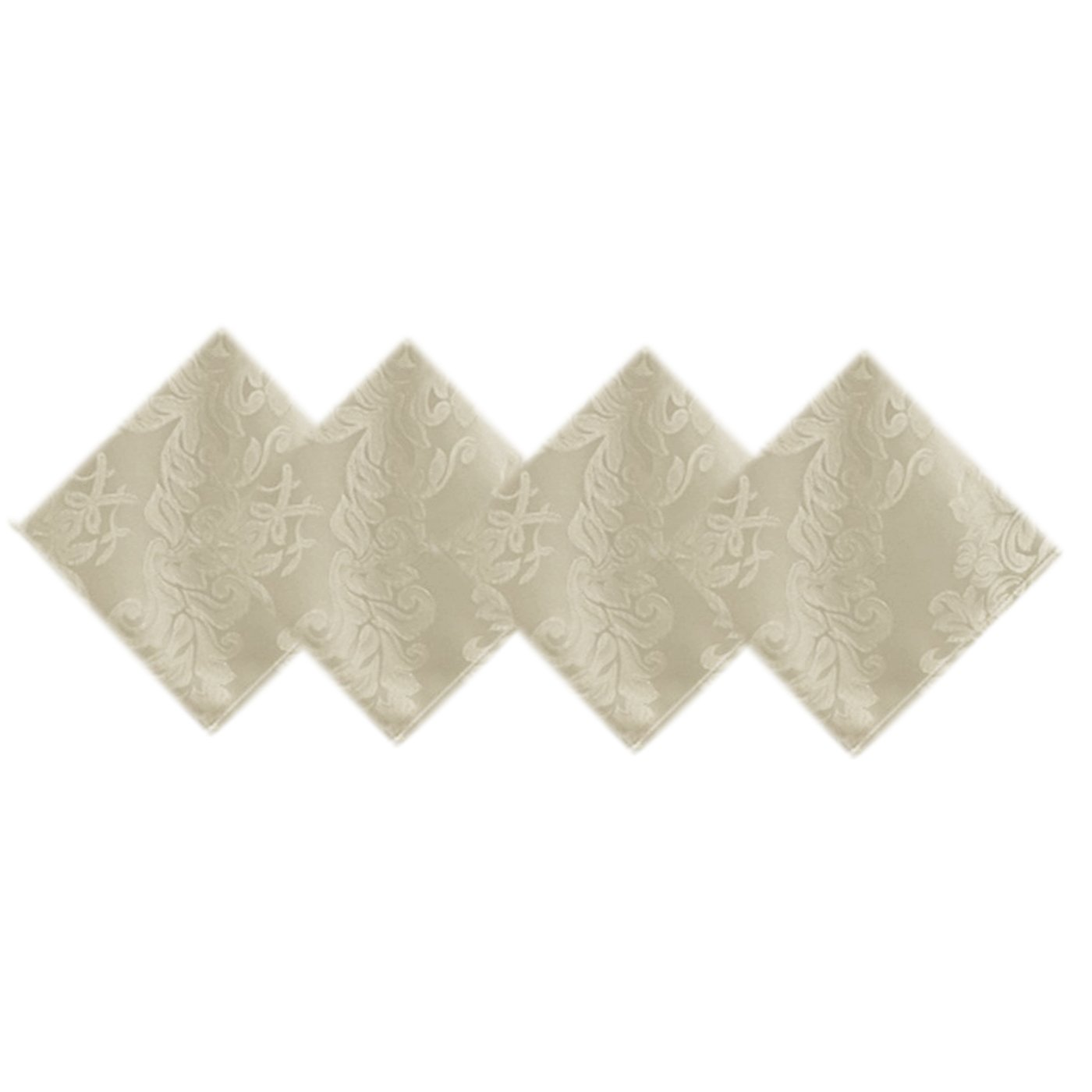 Newbridge Barcelona Damask Weave Fabric Napkin Clearance Sale, No-Iron and Soil Resistant Set of 4 Napkins, Antique White