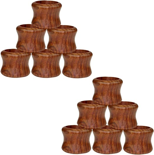 Width 1.5 Inch Antique Brown Cotton Craft Hand Made by Skilled artisans A Beautiful complement to Your Dinner Table d/écor 12 Pack Sheesham Wood Napkin Ring Set