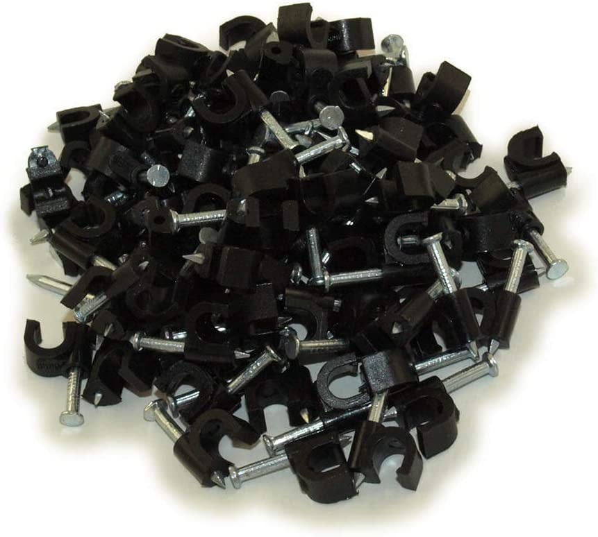 Chiloskit 200 Pack Nail-in Cable Clip for Coax RG6 Mounting Flex Clips,12mm// 0.47 12mm