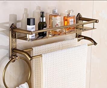 Bathroom Racks LQ Badezimmer Regale Badezimmer-Regal-Retro- Kupfer ...
