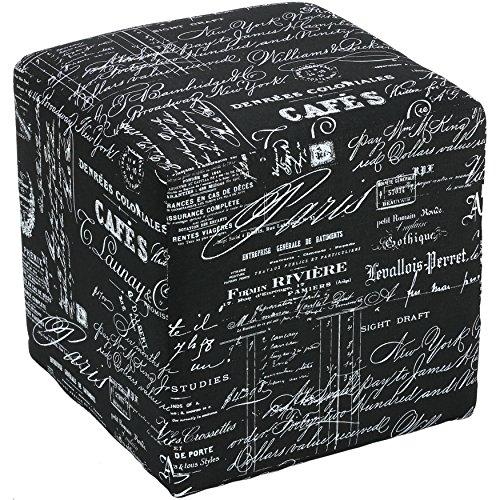 Linen Ottoman Fabric (Cortesi Home Braque Cube Print Linen Fabric Ottoman, Black Script)