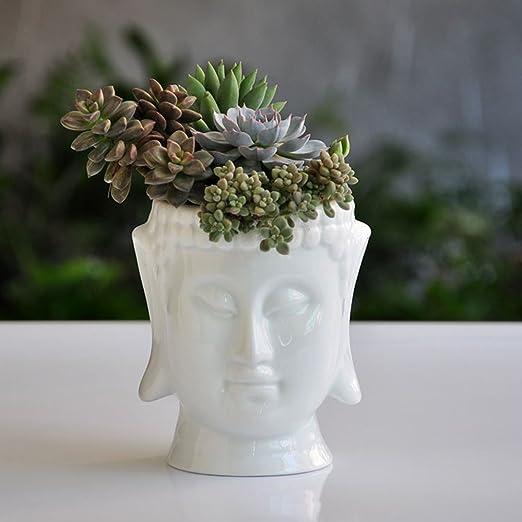 F&U Cabeza de Buda de cerámica Maceta macetas para casa jardín, Blanco: Amazon.es: Jardín