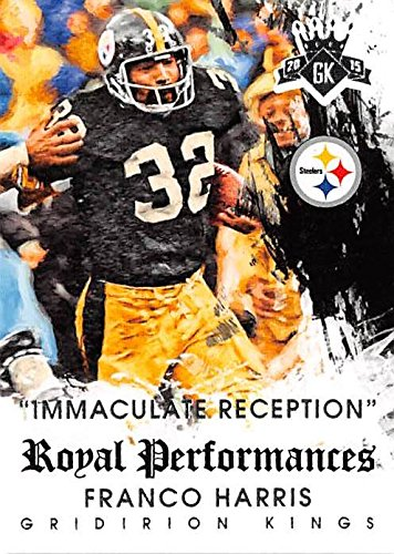 Franco Harris football card (Pittsburgh Steelers Hall of Famer) 2015 Diamond Kings #RP1 Royal Performances Insert Edition Immaculate Reception