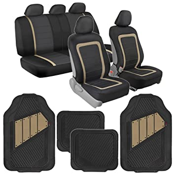 BDK Advanced Performance Car Seat Covers Heavy Duty Rubber Floor Mats Combo W