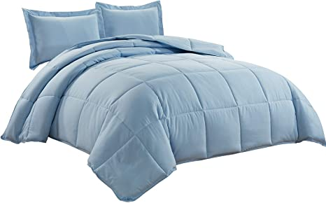 Amazon Com 3 Piece Down Alternative Comforter Set Queen Chambray Blue Kitchen Dining