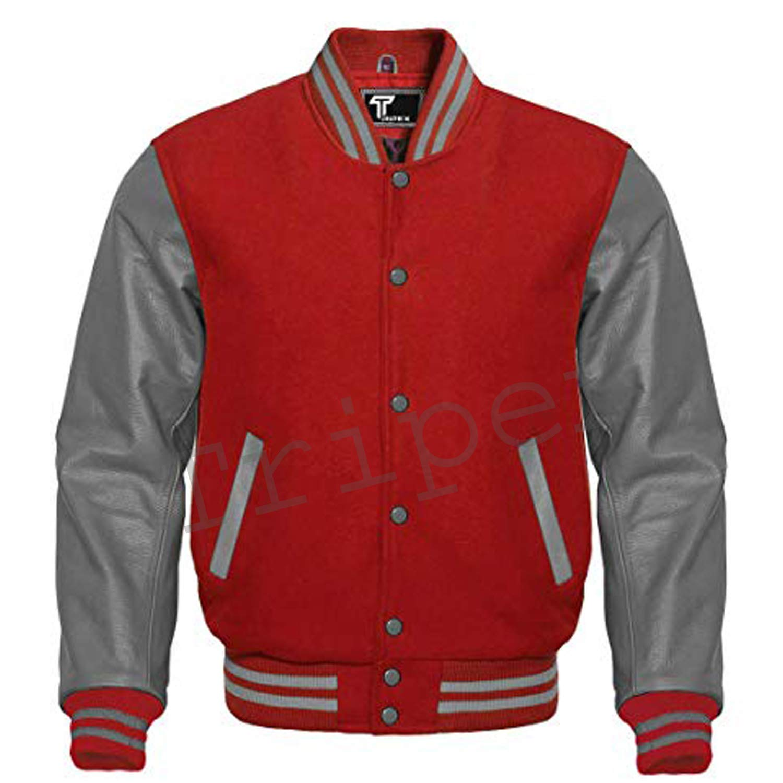 Varsity Black Wool Letterman Baseball Wool Golden Genuine White Leather Sleeves Jacket
