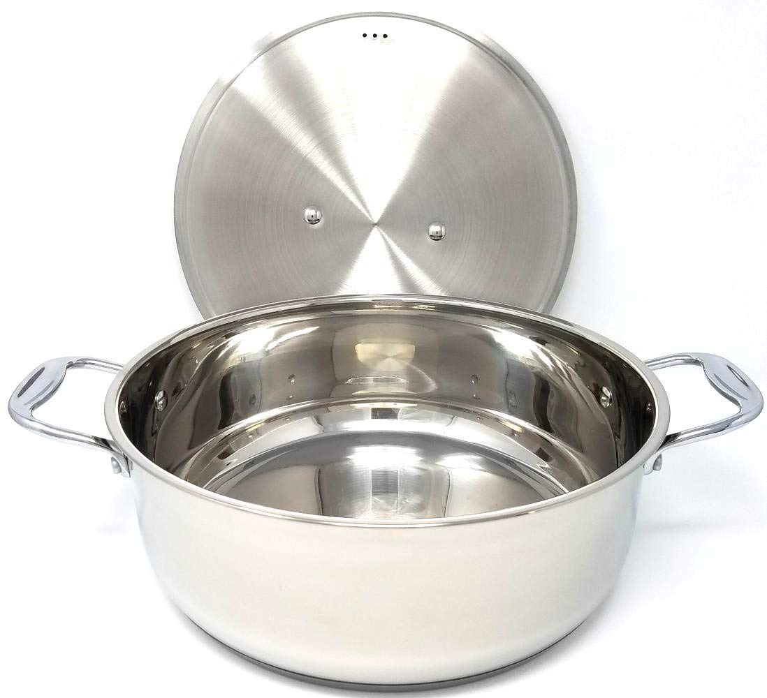 Better Chef, BC1201, 12 Quart Genuine 18/8 Extra Large All Stainless Steel Pot, Lid and Handles with Bright Mirror Surface Great for Rice, Stew, Soups and Sauces Cookware