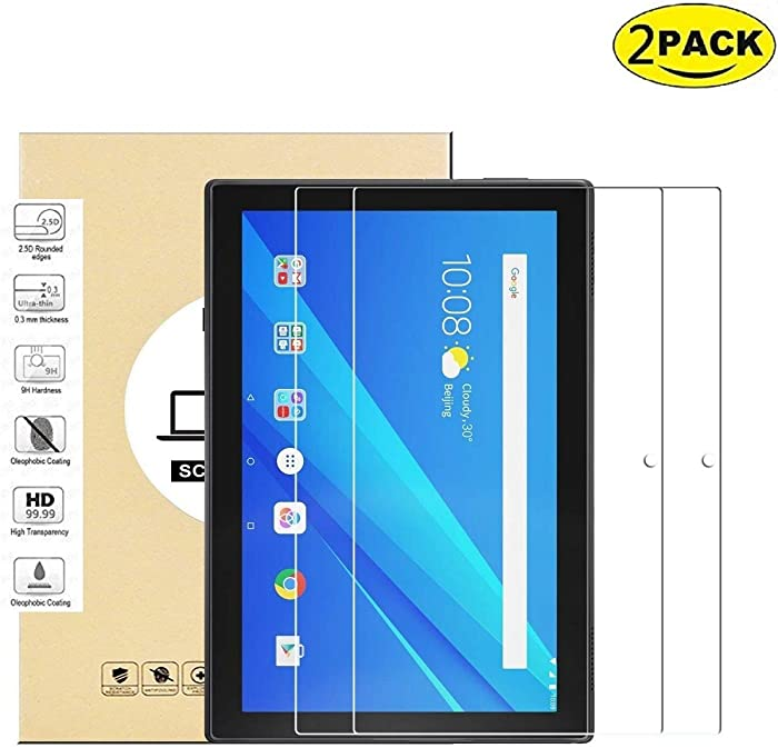 2-Pack Glass Screen Protector Compatible for Lenovo Tab 4 10 Tablet 2017 Release (Only Model: TB-X304) - DHZ 9H Hardness Scratch Resistant Anti-Bubble Premium Film Tempered Glass Screen Protector