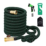 Greenbest Expanding/Expandable Garden Hose, Car Hose,Plastic Hose Hanger, 3/4Nozzel Solid Brass Connector,Double Latex Core,Extra woven Strength Fabric cover,Storage Sack,Spray Nozzle BlackGreen(50FT)